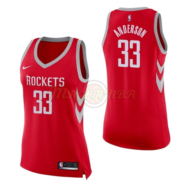 Maglia NBA Donna Houston Rockets NO.33 Ryan Anderson Rosso Icon 2017-18