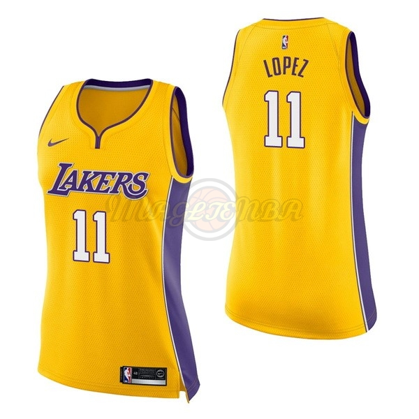 Maglia NBA Donna Los Angeles Lakers NO.11 Brook Lopez Giallo Icon 2017-18
