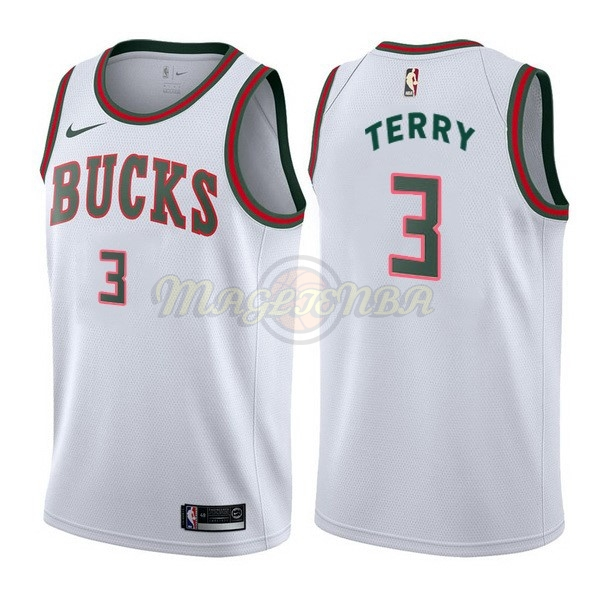 Maglia NBA Nike Milwaukee Bucks NO.3 Jason Terry Retro Bianco 2017-18