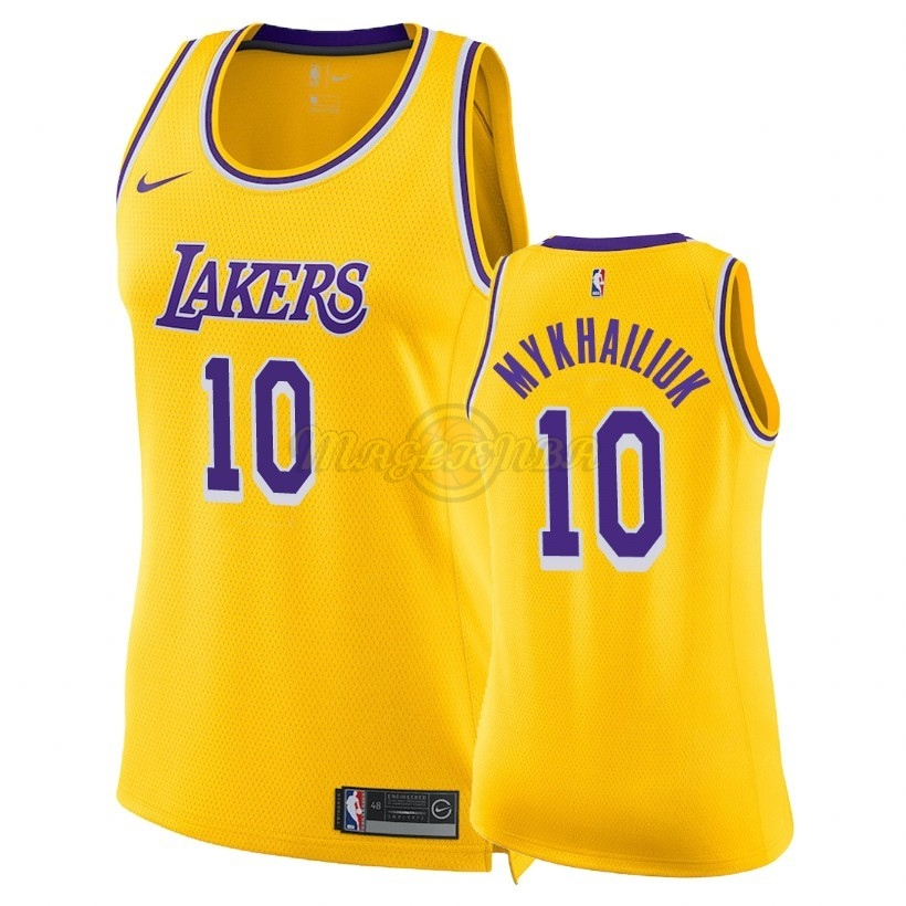 Maglia NBA Donna Los Angeles Lakers NO.10 Sviatoslav Mykhailiuk Giallo Icon 2018-19